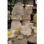 バリ島 石像 バリニーズ お花付き ペア オブジェ