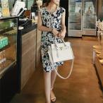 マタニティ フラワージャングルプリントワンピース可愛い妊婦服 大きいサイズ 送料無料