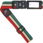 アメリカ旅行の必需品 たびとも TSAロック付きスーツケースベルト ボーダー 赤ベージュ緑