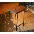 【ハンドメイド家具】厚めの木の板のアイアン・スツール