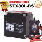 バイク用バッテリー H_STX30L-BS YIX30L YTX30L-BS SVR12VX30L-Bに互換 お得2点セット バッテリー+星乃充電器 スーパーナット 総販売数100万個突破