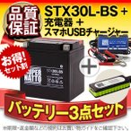 バイク用バッテリー ハーレー用STX30L-BS 66010-97Bに互換 お得3点セットUSBチャージャー+充電器+バッテリー バイクでスマホ充電