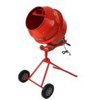 コンクリートミキサー 赤 練上量70L ドラム容量140L 固定ボルト加工 電動 モーター式 100V レッド RED