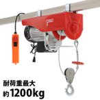 電動ウインチ 電動ホイスト 万能ウインチ 耐荷重最大約1200kg 約1.2t 最大揚程12m 100V電源 フック付き 安全装置付き 滑車フック ワイヤー約12m ワイヤー