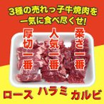 焼肉セット カルビ・ハラミ・上ロース 牛肉 600g(200g×3) 自家製タレ付属 (BBQ バーベキュー 焼き肉)