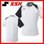SSK 2ボタンベースボールTシャツ ホワイト×ネイビー BT2240-1070