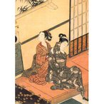 ポストカード【日本・和】鈴木春信(SUZUKI HARUNOBU )/The Evening Bell of the Clock, One of a Series of 'Eight Parlour Scenes' (heart)