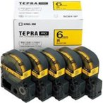 (業務用5セット) キングジム テプラ PROテープ/ラベルライター用テープ 〔幅:6mm〕 5個入り SC6Y-5P イエロー(黄)