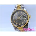 ロレックス デイトジャスト 16233G S番 10Pダイヤ メンズ 腕時計 自動巻き AT デイト SS/K18YG グレー文字盤 【中古】【送料無料】 bt1598