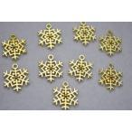 アクセサリーパーツ チャーム 雪の結晶 金 16.5mm 10個セット