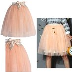 Chicwish シックウィッシュ 外せる リボン 付き チュールスカート Amore Tulle Midi Skirt in Ice Orange アイス オレンジ かわいい ミモレ丈 海外 ブランド