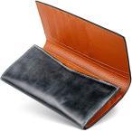 [男のブライドルレザー本革二つ折り長財布] ブライドルレザー 二つ折り 長財布 内装外装本革 メンズ 財布 [GRACIA] グラシア (ブ