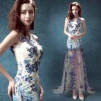 パーティードレス、透かし彫り、 結婚式、カラードレス、トレーンライン、エレガント、チャイナドレス、ロングドレス、ステージ衣装hs1109