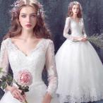 ウェディングドレス、贅沢レース、二次会、ロングドレス、ウエディングドレス、エンパイアライン、エンパイアドレス、長袖、可愛い姫系hs1389