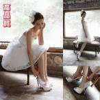 花嫁ミニドレス、ウェディングドレス、ミニドレス、二次会、パーティドレス、可愛い花、セクシービスチェタイプ、露背、舞台衣装、プリンセスhs2049