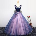 ウェディングドレス カラードレス、カラードレス ロング、結婚式、演奏会、可愛い刺繍花、二次会、ステージ、姫系、エンパイアhs2862