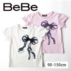 【BeBe/ベベ】 リボン プリント 半袖Tシャツ 子供服 BeBe ベベ アウトレット 女の子 90 100 110 120 130 140 150