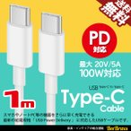 USB充電ケーブル Type-C to Type-C PD対応 高速 急速 充電 MAX 5A 20V 100W スマホ タブレット ノートPC Power Delivery 1m 送料無料