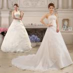 ウェディングドレス/ドレス/結婚式/二次会/ベアトップ/ホワイト/花嫁/ウェディング/トレーン/エンパイア/プリンセスドレス/白ドレス