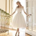 ドレス 結婚式 半袖 二次会 パーティー ウェディング レース 安い プリンセス  白 披露宴 膝丈 大きいサイズ シンプルドレス