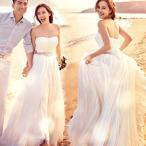 ウェディングドレス  結婚式 ビスチェ 二次会 プリンセス 格安 花嫁 スウィート ドレス 白 披露宴 ロングドレス wedding dress