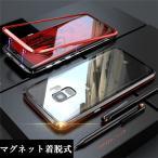 マグネット式 GalaxyS9 GalaxyS9+ GalaxyS8/S8+ ガラスケース アルミ バンパー クリア 透明 Glass 強化ガラス カバー ギャラクシーs9