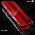 全面保護 iPhone X アルミバンパー クリアプレート透明ケース アイフォンX アイフォン8 クリアケース カバー