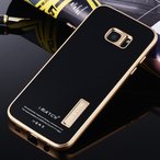 スタンド機能付きgalaxy s7 edgeアルミバンパーケース 9H強化ガラスプレート付き  Galaxy S7 edge SC-02H SCV33 バンパー アルミ ギャラクシーS7エッジケース