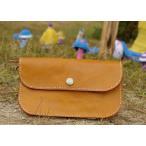 大きなレザー長財布 ハンドメイド財布 ヌメ革財布 手作りかばん 鞄 カバン バッグ ラウンド型/母の日プレゼント