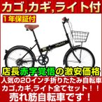 折りたたみ自転車 20インチ カゴ付 シマノ6段変速 ライト付 Raychell FB-206R 折り畳み自転車
