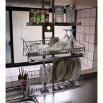 つっぱりキッチンラック 棚1段+水切り2個