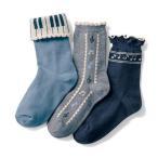 ジータ/GITA basic 子供靴下・女の子 音符系靴下3柄セット(クルー丈) 16―18〜22―24