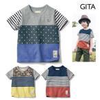 ジータ/GITA basic 通園・通学・子供服 名札付けポイント付き切替え半袖Tシャツ 100〜150