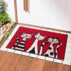 3匹の猫柄の泥落とし屋外玄関マット 約50×75cm