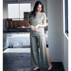 授乳対応マタニティシフォン切替え半袖パジャマ 「杢グレー」