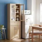 食器棚 キッチンボード 連結できる コンパクト 可動棚 幅57 奥行29.5 高さ80cm ガラス扉