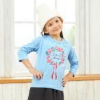 GITA(ジータ) 名札ココかわいいプリント七分袖Tシャツ サックス 80 90 100 110 120 130