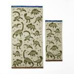 綿100%の恐竜柄のジャガードタオル ベージュ バスタオル1枚