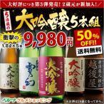日本酒 大吟醸(驚きの50%OFF!)第3弾特割!5酒蔵の大吟醸飲みくらべ一升瓶5本組