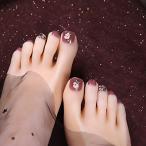 SIFASHION 足指の爪 24枚の爪 12別サイズ 足用 偽の爪 3Dネイル 小さい花の型