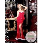 【即納!キャバサンタ!!】大人の魅惑漂うクリスマス赤ロングドレス【Ryuyu】【リューユ】2ピース!!ペプラムサンタドレス(Mフリーサイズ)(レ