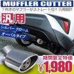汎用 マフラーカッター 下向き シングル シルバー オーバル マフラー 軽 スラッシュ