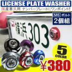 ナンバープレート ボルト M6 カラー ワッシャー 選べる5色