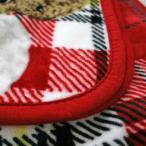 ショッピングひざ掛け 毛布 ひざ掛け 70x100cm イヌ&チェック柄 なめらかシルクタッチ 軽くてやわらかブランケット 暖かなニューマイヤー毛布 犬 プードル