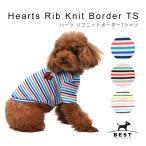 ハーツ リブニットコットンボーダーTS      犬 服 犬の服 ドッグウェア Tシャツ カラフル ボーダー 薄手 ニット生地 伸縮 伸びる 可愛い