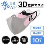 マスク 送料無料 3Dマスク 洗える 10枚セット ポリエステル ウレタン ブラック グレー ピンク 黒 灰色 色選択可能