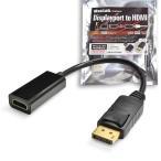 MacLab. Displayport ディスプレイポート HDMI 変換 ケーブル 変換 アダプタ 20cm ブラック 相性保証付  L