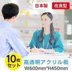 [10枚セット][あすつく] [日本製] 飛沫防止 透明樹脂パーテーション W600*H450mmデスク用仕切り板  コロナウイルス対策 受付カウンター tap-600-10set