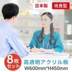 [8枚セット][あすつく] [日本製] 飛沫防止 透明樹脂パーテーション W600*H450mmデスク用仕切り板  コロナウイルス対策 受付カウンター tap-600-8set