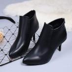 ブーティー ショート ブーツ ヒール7cm ブーツ ハイヒール ポインテッドトゥ 黒 フェイク レザー レディース